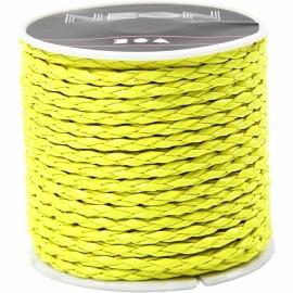 Gevlochten koord, 3 mm, neon geel, 6m