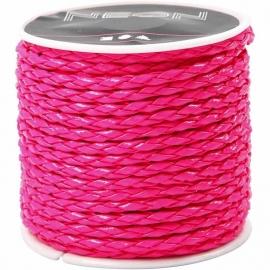Gevlochten koord, 3 mm, neon roze , 6m