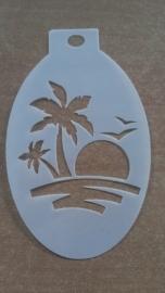 Palmboom en ondergaande zon