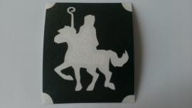 Sinterklaas op paard met staf
