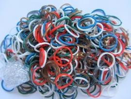 Kerst mix kleuren elastiekjes ± 600 stuks