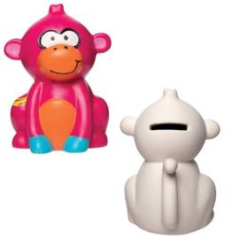 2 aap spaarpotten van keramiek