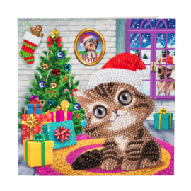 Crystal Art Card Cozy Kitty