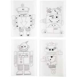 Krimpfolie met motieven robots 4 stuks
