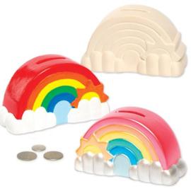 2 regenboog spaarpotten van Keramiek