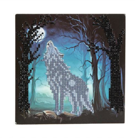 Crystal Art card Howling Wolf