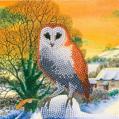Crystal Art Card Winter owl