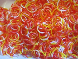 Trio geel/rood/witte elastiekjes ± 600 stuks