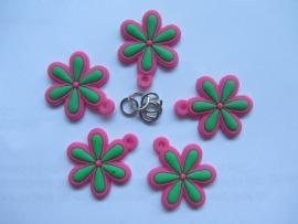 Bloem groen/roze per stuk