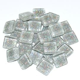 Soft glas Glitter (Vierkant) - Zilver (65 gr)