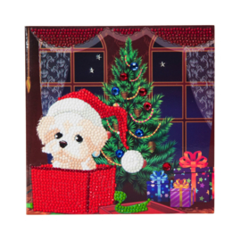 Crystal Art card Puppy from Christmas