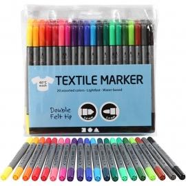 Textiel stiften 20 stuks,  2 kanten te gebruiken