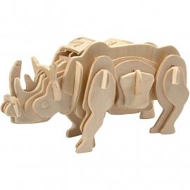 3D Puzzeldier Neushoorn