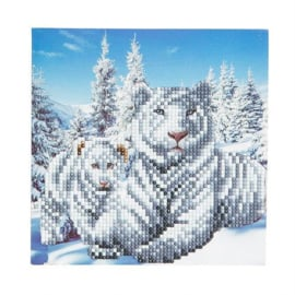 Crystal Art card Snowy White Tigers