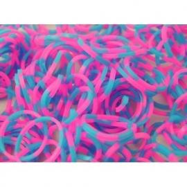 Om en om roze/blauwe elastiekjes 600 stuks