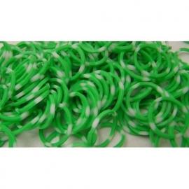 Stip groen/witte elastiekjes ± 600 stuks