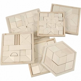 Puzzel afm 13-17,5 cm. 6 stuks