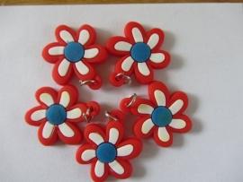Bloem rood/wit per stuk