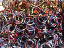 Multi Rood/zwart/grijs/beige elastiekjes ± 600 stuks