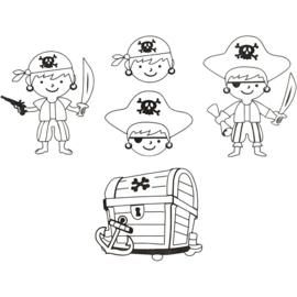 Krimpfolie met motieven piraten  4 stuks