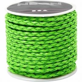 Gevlochten koord, 3 mm, neon groen, 6m