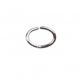 Ring ovaal 1 mm, verzilverd per 40 stuks