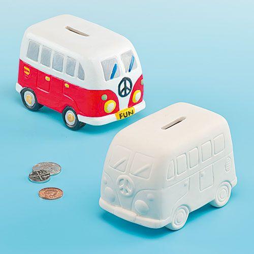 2 kampeerbus spaarpot van Keramiek