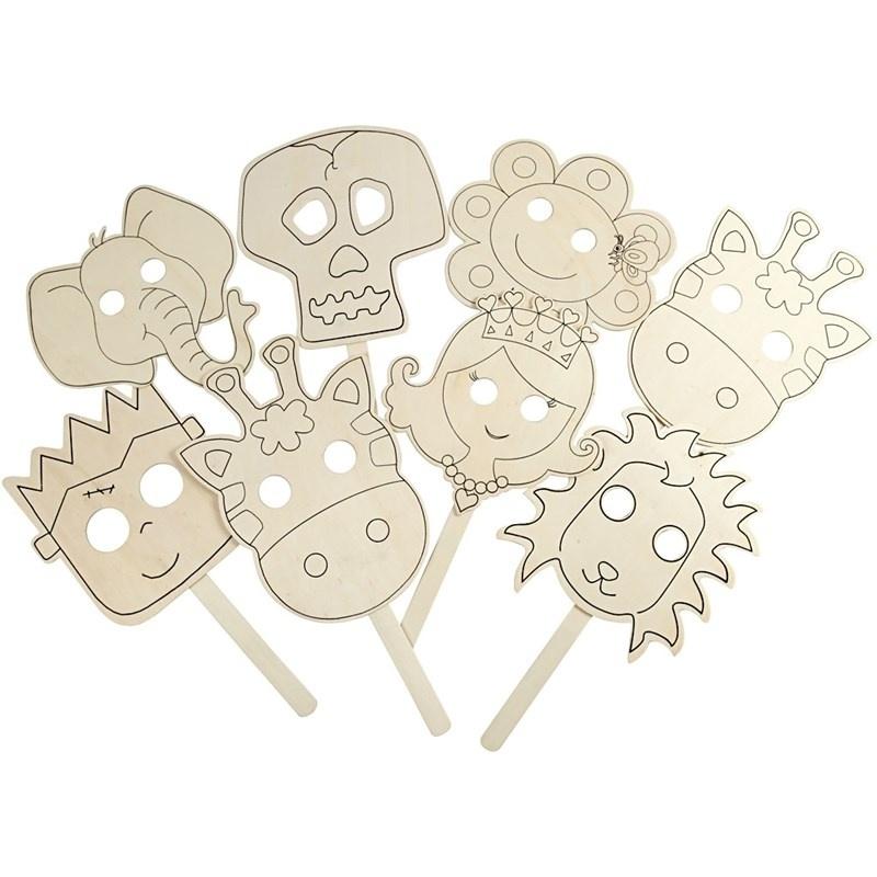 Maskers 8 verschillende 22 cm.