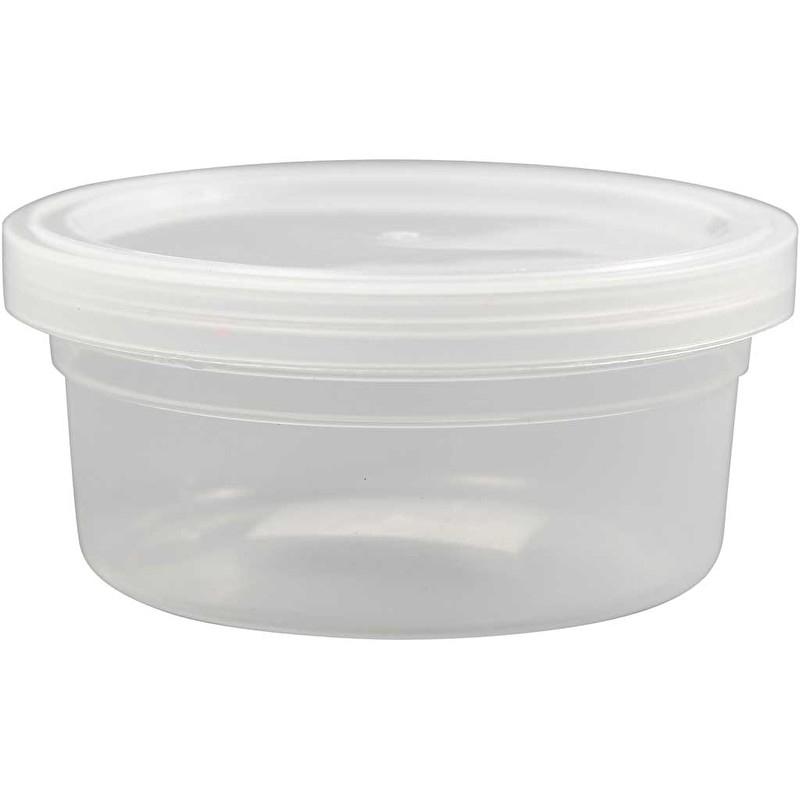 Plastic potje met deksel, h: 38 mm, d: 84 mm, 20 stuks