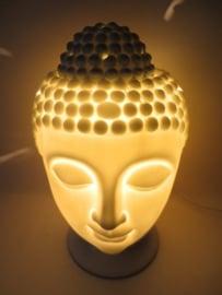 Witte Buddhahoofd met lamp/brander met dimmer