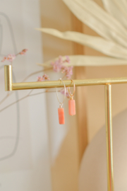 Roze Aventurijn Tube Oorbel Hanger | 14K Gold Filled