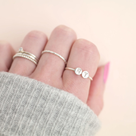 Two Initials Ring | Ring Twee Letters - 925 Zilver