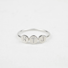 Three Initials Ring | Ring Drie Letters - 925 Zilver