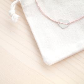 Silk Initial Heart  | Zijde Armbandje Initiaal Hartje - 925 Zilver