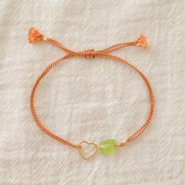 Blossom Birth Stone | Zijde Armband Hartje - 14kt Gold Filled