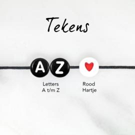 Naam Armbandje - Twisted Nylonkoord | Zwarte Letterkralen