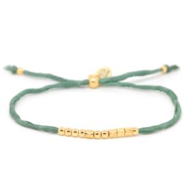 Morse Code Zijde Armband | Goud