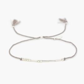 Silk Morse Code | Zijde Armbandje met Morse Code - 925 Zilver