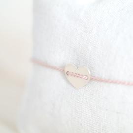 Silk Heart | Zijde Armbandje Hartje - 925 Zilver