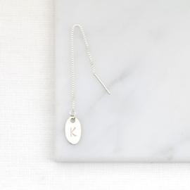 Initial Ear Threader | Doortrekoorbel Initiaal Muntje - 925 Zilver