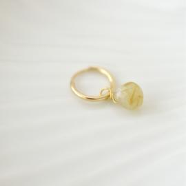 Gouden Rutielkwarts Druppel Oorbel Hanger | 925 Zilver