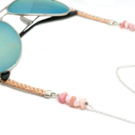 Sunny Chain Rose - Zilver & Goud | Zonnebrilketting Leer & Opaal