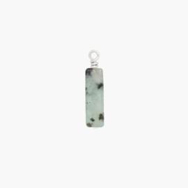 CUSTOM - Sesam Jaspis Tube Hangertje | 925 Zilver