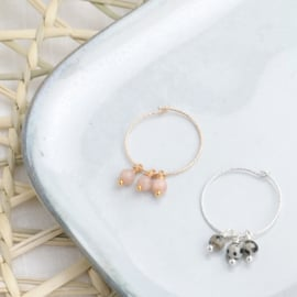Sparkle Hoops | Oorringen Trio Maansteen - Gold Filled