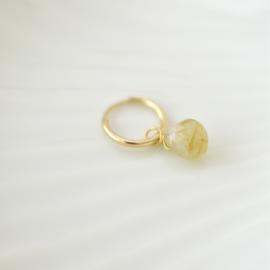 Gouden Rutielkwarts Druppel Oorbel Hanger | 14K Gold Filled