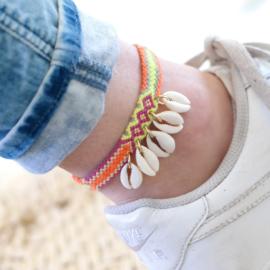 Friendship Anklet Isla Ibiza | Schelpjes Geknoopt Vriendschaps Enkelbandje