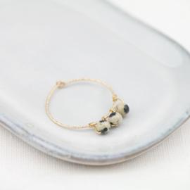 Sparkle Hoop Dalmatiër Jaspis | Oorbel - 14K  Gold Filled