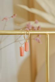 Roze Aventurijn Tube Oorbel Hanger | 925 Zilver