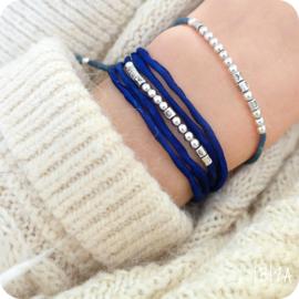 Morse Code Zijde Wikkel Armband | Zilver