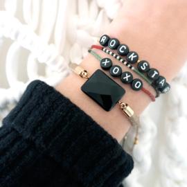 Naam Armbandje - Nylonkoord | Zwarte Letterkralen